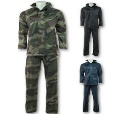 MENS 100% WATERPROOF RAIN SUIT S-2XL CAMO HOODED JACKET OVER TROUSERS HIKING