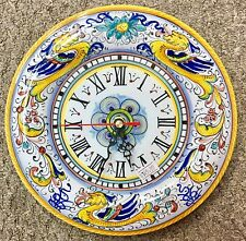 Deruta Pottery-9inch Clock Raffaellesco.Made/painted by hand in Italy