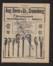 Cronenberg, Display 1909, Aug Berns. & Co.. Tool Factory