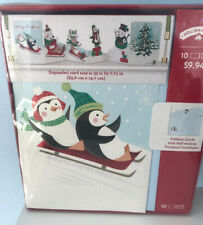 Holiday Time 10 Expanded Cards Penguins Glittered Foldout