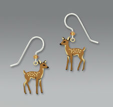 Sienna Sky Young FAWN Baby Deer EARRINGS Sterling Silver Earwires Dangle - Boxed