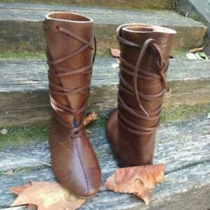 Mens Womens Medieval Viking Boots Leather Reenactment Cosplay Stage Boots 2020
