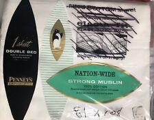 Nos Nip Vtg Penneys White Flat Double Full Bed Sheet Strong Muslin 100% Cotton
