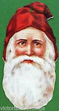 Victorian Christmas Ornament Old Fashioned Father Time Santa Face in Red Hat