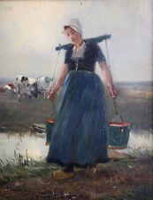 Gustave Flasschoen, 1868-1940, Jeune femme, Laitière, Huile, Cote jusque 28.000€