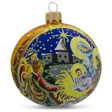 Nativity Scene on Gold Glass Ball Christmas Ornament 4 Inches