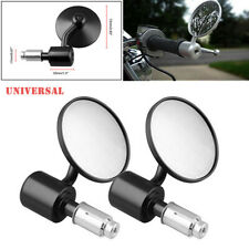Left+ Right Black Universal Motorcycle Round Handle Bar End Rearview Side Mirror