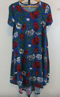 LuLaRoe Womens Size Small Blue Floral Carly Dress Short Sleeve