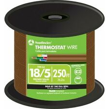 Thermostat Wire 250 Ft 185 Brown Solid Cu Cl2 Jacketed With Pre Cut Length
