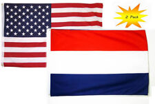 3x5 3'x5' Wholesale Set (2 Pack) USA American & Netherlands Country Flag Banner