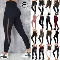 Women's High Waist Yoga Leggings Mesh Pants Sports Fitness Stretch Running Gym G