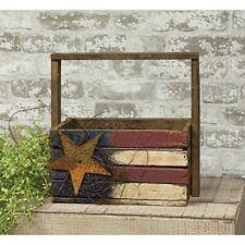 Patriotic American Flag Crate Country Farmhouse Americana Primitive Wooden Box