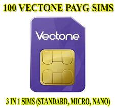 100 X Vectone Mobile Pay As You Go 4G Sim Cards UK New Bulk Wholesale Joblot