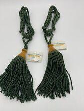 2 Vintage Hunter Green Decorative Drapery Wood Tassel Rope Cord Tie Back