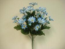 "BLUE Daisy Bush 14 Artificial Silk Flowers 19"" Bouquet 828BL"