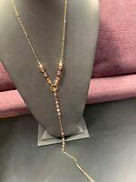 "Vintage Necklace gold tone Purple Y Long Rhinestone tassel sweater necklace 30"""