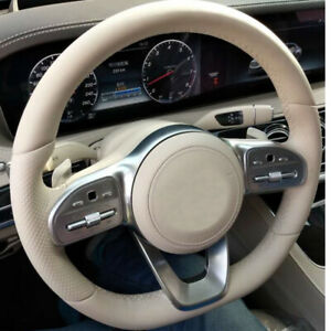 All Beige leather DIY Hand sewing Steering Wheel Cover for Benz