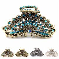 Woman Large elegant metal Peacock tail rhinestones crystal hair claw Clip pin