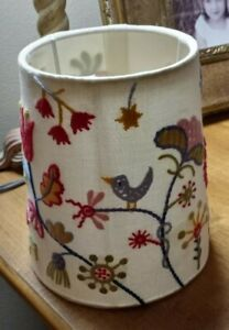 "Embroidered Lamp Shade Bird & Flowers 6 1/2"" x  5 1/2"" Fitting diameter 1 1/8"""