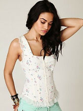 1268 NEW Free People Poplin in The Wind Corset Tunic Cami Tank Top 2