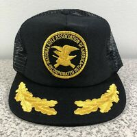 NRA Vintage Mesh Trucker Patch Foam Gold Leaves Rifle Guns Black Snapback Hat