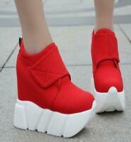 Women High Top Hidden Wedge Heel Creeper Platform Sneakers Athletic Shoes Vogue