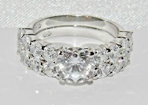 Sterling Silver (925) 2 Piece Bridal Set Engagement / Wedding Ring ~ All Sizes