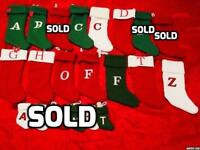 1 Red Green Knit Holiday Stocking Monogram Initial Letter A B C D G H LO F T Z