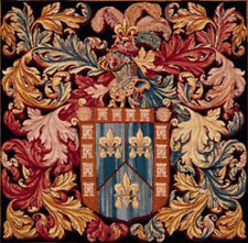 Armoires Au Heaume French Crest Tapestry Cushion Pillow Cover - 19 x 19 - NEW