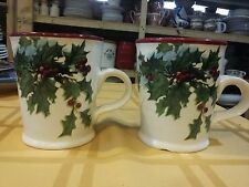 "WILLIAMS-SONOMA Vintage Christmas Postcard 2012 Pair of 4-1/2"" Mugs (1144)"