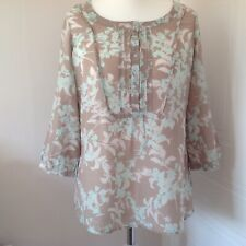 M&S Taupe Pale Green Floral Print Cotton Silk Mix 3/4 Sleeve Blouse Size 16