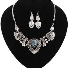 Choker Bib Statement Pendant Necklace Jewelry RetroStyle Women 1 Pair Earring +