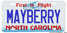 North Carolina Mayberry Aluminum License plate
