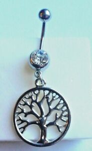 Tree of Life 14g Belly Navel Bar Ring White Crystal Stainless Steel Dangle Pagan