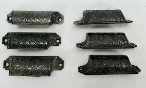 Set 6 Antique Vintage Iron Victorian Apothecary Bin Cupboard Drawer Pull Handles