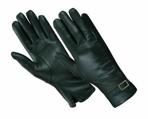 SOFT LADIES WOMENS FLEECE LINED QUALITY REAL LEATHER FITTED DRIVING GLOVES BLACK