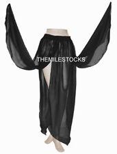 TMS BLACK Chiffon 4 Petal Skirt Belly Dance Penal Gypsy Tribal ROBE JUPE 25 C4P