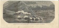 Stampa antica BATTAGLIA di LAVENO GARIBALDINI Lago Maggiore 1859 Old print