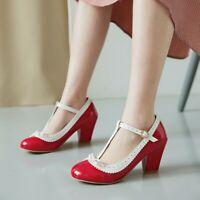 Womens Mary Jane Heels Round Toe Mid Cone Bows Ankle T-strap Patchwork Lady Shoe