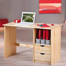 Tisch Schreibtisch Bürotisch Naturholz 2-Schubladen Auszug NEU