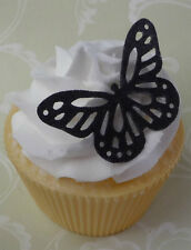 #301. black edible wafer butterfly cupcake cake toppers wedding birthday 21st