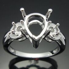 Solid 14K White Gold Semi Mount Pear Cut 10x7mm Engagement Wedding Women's Ring