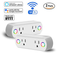 2x WiFi Smart Socket Double Plug Timer Switch Outlet Voice App Remote Control