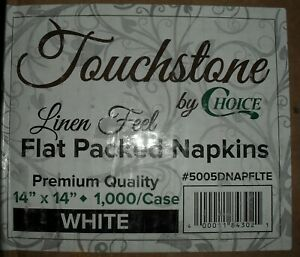 "Touchstone by Choice 14"" x 14"" White Linen-Feel Flat-Packed Dinner Napkin - 1000"