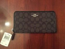 COACH~~ NWT COACH Outline Signature Accordian Zip Wallet F54633 S/Black/Smoke