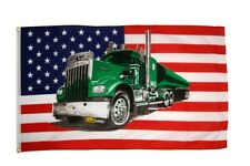 Fahne USA mit grünem Truck Flagge amerikanische Hissflagge 90x150cm