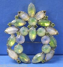 Green & Blue Satin Glass Brooch Huge Gorgeous Kramer of Ny Siliver Plated w