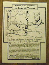 PUBLICITE DENTOL FABLES DE LA FONTAINE LE LOUP ET L AGNEAU     advert  1924
