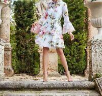 AUTH Ted Baker White Beccaa Harmony Bow Neck 3/4 Sleeve Ruffle Dress 4