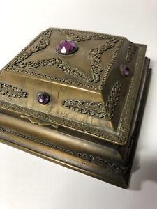 Antique 1920s Metal Jeweled Jewelry Box Presentation Filigree Patina Art Deco